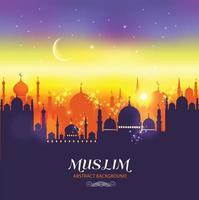 Muslim abstract greeting card. Islamic vector illustration at sunset.