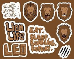 Lion stickers vector illustration
