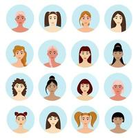 Set of avatar womens hairstyles Beautiful young girls with different hairstyles isolated on a white background vector