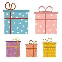 Set of Surprise Gift Box Flat style vector Illustration