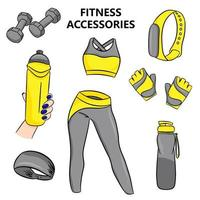 Fitness accessories in cartoon style Vector illustration isolated on a white background