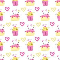 A muffin and a piece of cake in pink and yellow flowers with hearts on a white background Vector seamless pattern wallpaper packaging paper design and fabric print