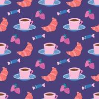 Tea Party Coffee Break Taza y platillo Dulces y croissants con fresas sobre un fondo lila Diseño de papel tapiz de patrón transparente de vector para embalaje de papel y tela