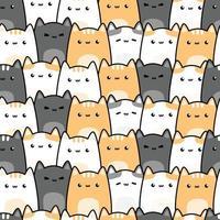 Cute chubby cat kitten cartoon doodle seamless pattern vector