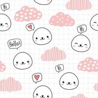 Cute white seal head with pink cloud cartoon doodle seamless pattern vector
