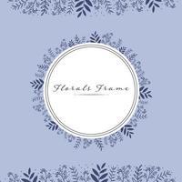 Light blue floral frame card template vector
