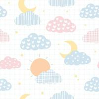 Cute sun and moon sky pastel cartoon seamless pattern vector