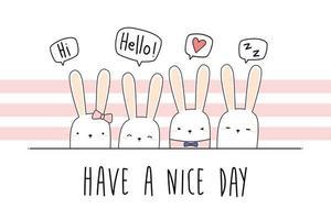 lindo, conejo, conejito, saludo, caricatura, garabato vector