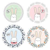 conjunto de lindo conejo conejito dibujos animados doodle corona floral vector