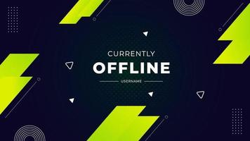 Currently offline twitch banner green background vector template Liquid geometric background with modern design