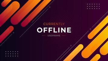 Currently offline twitch banner dark orange background vector template Liquid geometric background with modern design