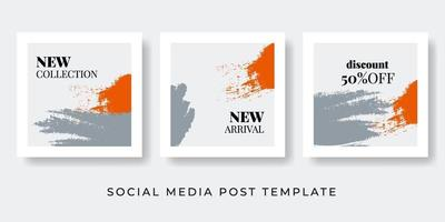 Social media vintage stories and post creative Vector set Background template with copy space text brush shapes