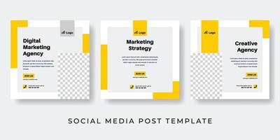 Yellow digital marketing agency social media post design vector