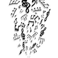 Music notes and shadow Abstract musical background vector