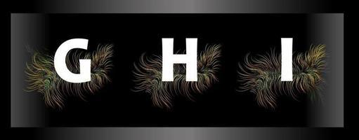 Letras del alfabeto sobre un fondo negro con plumas de aves exóticas vector