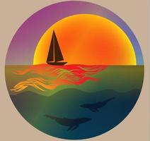 yacht dissecting the sea surface at dawn vector