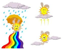 Vector image of a sunbeam with clouds and an umbrella
