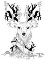 Vector image of a deer as a concept of a single whole nature and animals