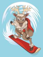 vector illustration of a reindeer that rides on the mountain slopes on a snowboard