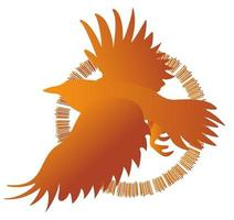 imagen vectorial de siluetas de pájaros en vuelo vector