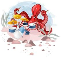 El personaje de ilustración vectorial tiene un color brillante y tiene un buen dominio de las baquetas. vector