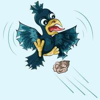 ilustración de un cuervo volando en el aire vector