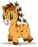 Vector image of giraffe with tails playful look