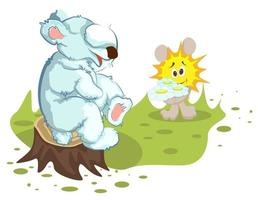 Vector image of a bear and a Sunny Bunny with a bouquet of wild flowers of three daisies