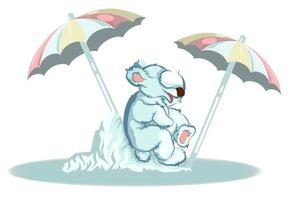 Vector image of a bear sitting on an ice block on a Sunny day and hiding under an umbrella