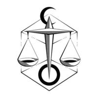 Zodiac sign of Libra draw in geometric style vector illustration