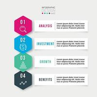 Four step process work flow infographic template vector