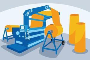 Ilustración de vector de industria de maquinaria textil