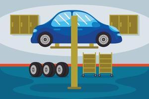 Ilustración de vector de estación de servicio de coche
