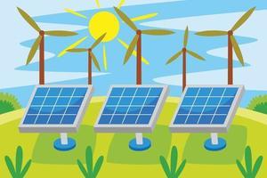 Solar Energy Industry Vector Illustration