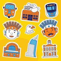 jakarta sticker pack vector