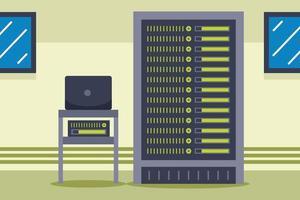 Network Server Room Vector Illustration