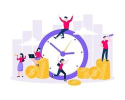 Time is money save time business concept flat style vector illustration