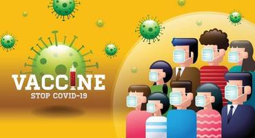 Banner Design Concept Vaccine and Illustrate group of people vector