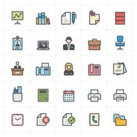 Office Stationery Line with Color vector