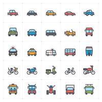 Línea automática de transporte con conjunto de iconos de color vector