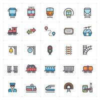 Train Railway Line with Color Icon Set vector