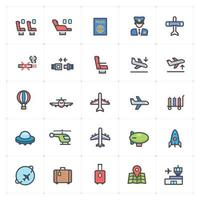 Airplane Transport Line with Color Icon Set vector
