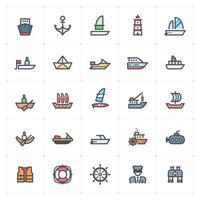 línea de barco y barco con iconos de color vector