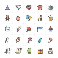 Party and celebration Line with Color Icon vector