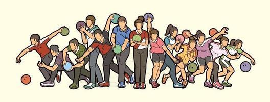 Grupo de jugadores de bolos, acción de jugador deportivo. vector