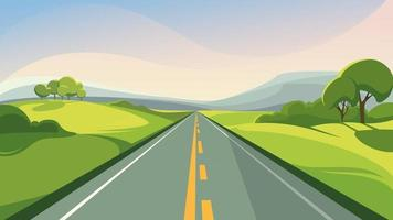 Summer road stretching into the horizon vector