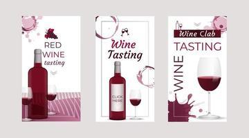 Plantillas de historias de invitación de cata de vinos con botellas de vino y copas de vino con fondo de manchas de vino vector