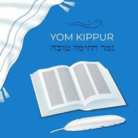 Jewish holiday Yom Kipur Day of Atonement traditional symbols book and feather quill pen horn Prayer Shawl Tallit A good final sealing in Hebrew vector