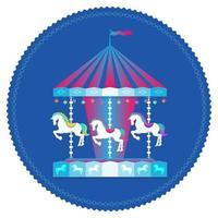 carrusel con caballos concepto de parque de atracciones con carrusel tiovivo vector
