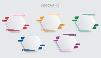colorful hexagon infographic vector template with 5 options  Abstract background